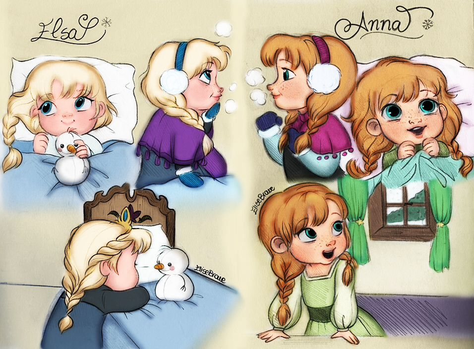 Little Elsa & Little Anna FanArt!! I don't know who made it, but this is SO nice!!!