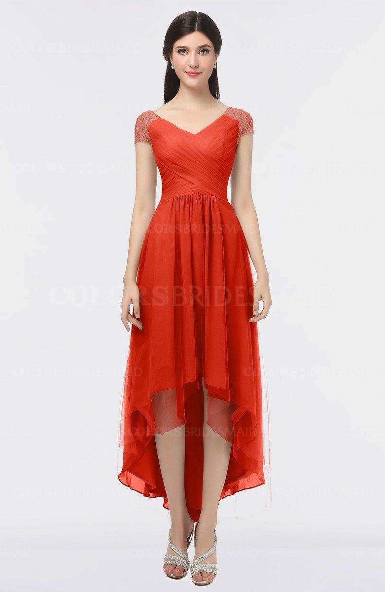 Mandarin red elegant vneck short sleeve zip up appliques bridesmaid