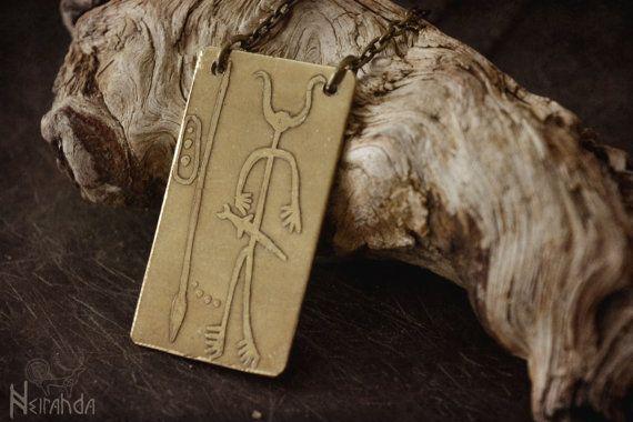 Estela de Magacela etched brass pendant by Neirahda on Etsy