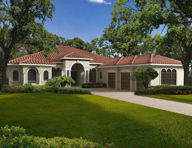 This One Story Mediterranean Style Waterfront Home Features Five Bedrooms Five Mediterranean Style House Plans Mediterranean House Plans Mediterranean Homes