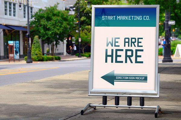 Free Outdoor Advertisement Direction Signage Mock Up Psd Sign Mockup Mockup Downloads Signage