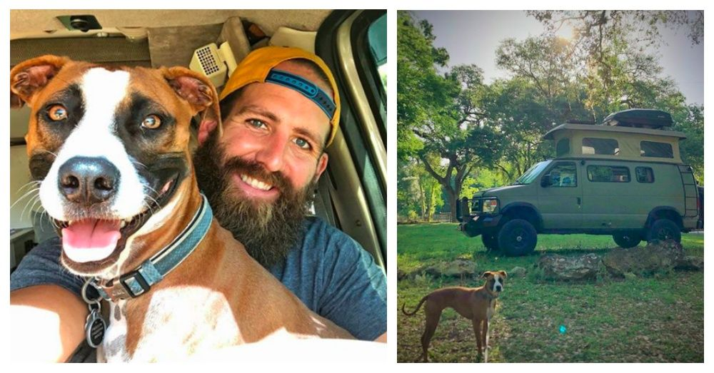 Former Nfl Player Donates Everything To Charity And Hits The Open Road With His Rescue Dog Rescue Dogs Dogs With Jobs Dogs