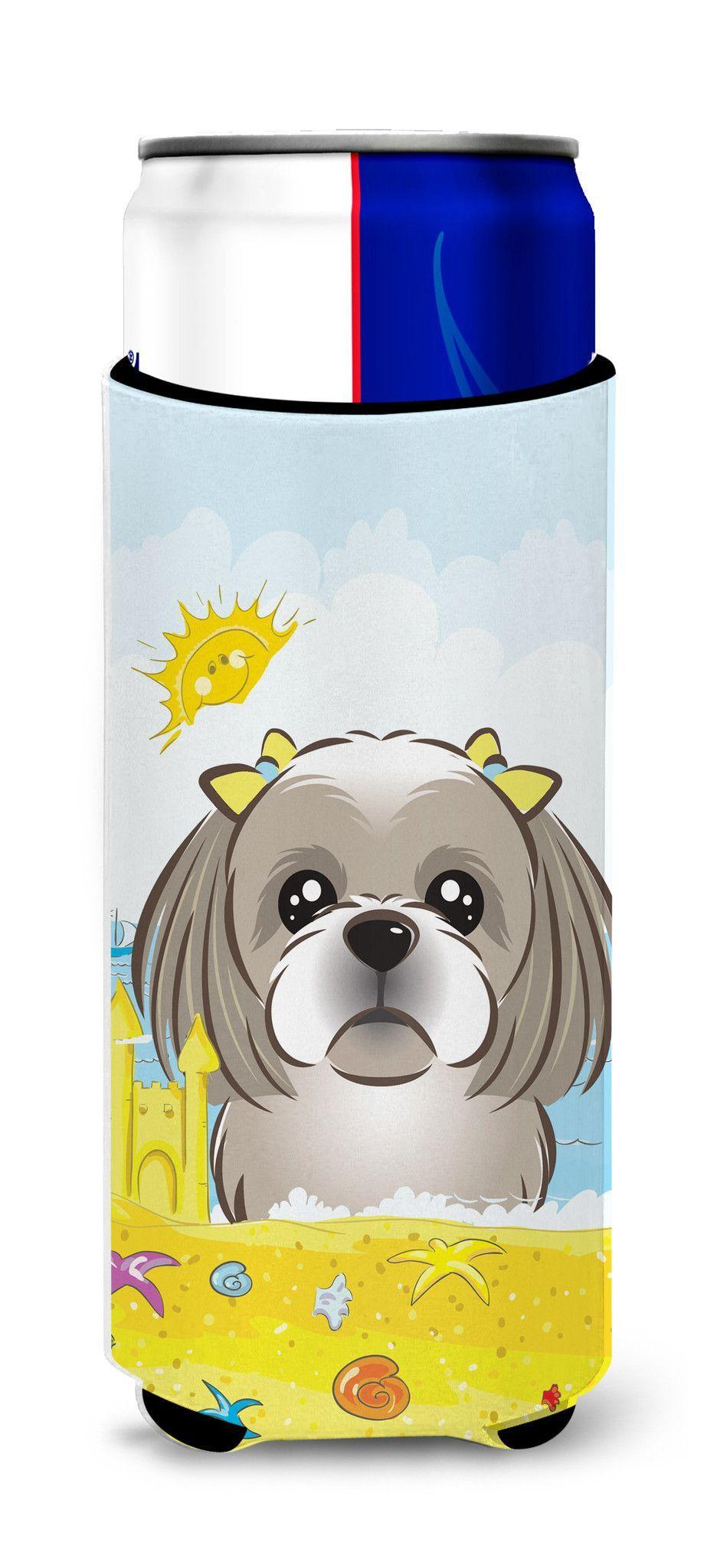 Gray Silver Shih Tzu Summer Beach Michelob Ultra Beverage Insulator for slim cans BB2118MUK