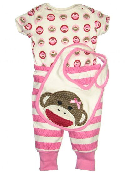 Amazon.com: 3 Piece Sock Monkey Baby Outfit by Baby ...