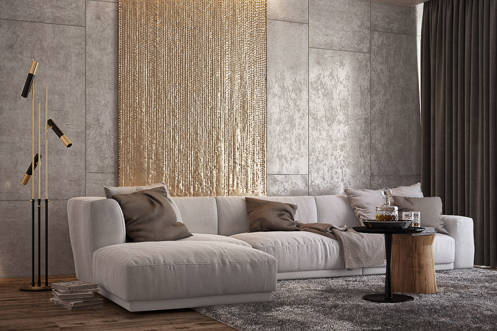 Pin by studiomodbox on fabric panelling   Modern living room