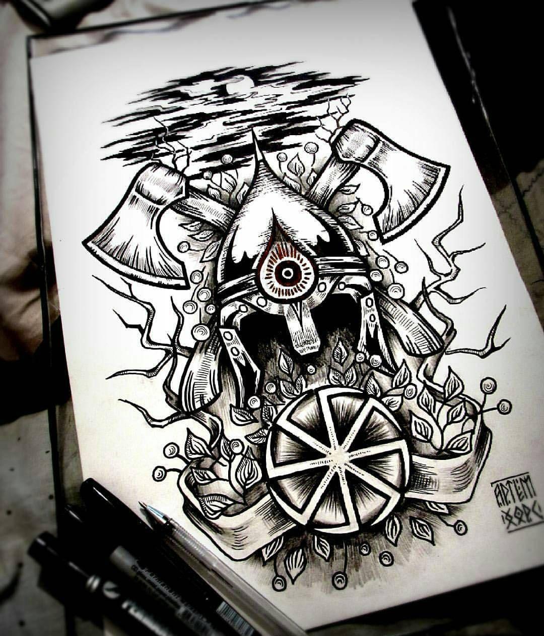 Art By At Artemhors шлем эскиз топоры славянскийстиль