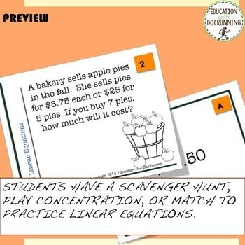 Linear Equation Task Cards for Autumn - FREE SAMPLE siri - Sample Cards