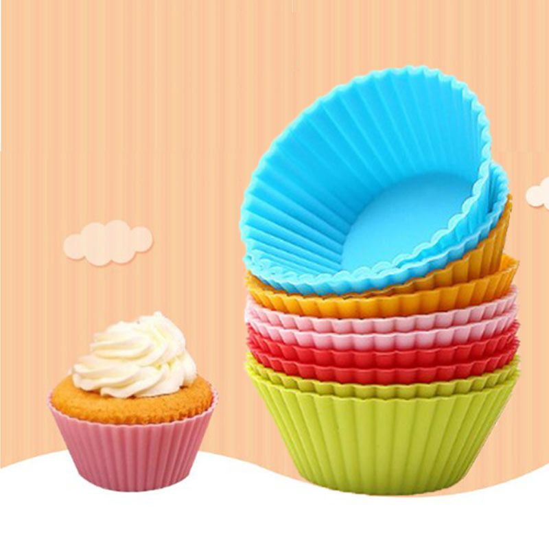 Urijk 12pcs Muffin Silicone Mold Bakeware Cupcake Liners Mold
