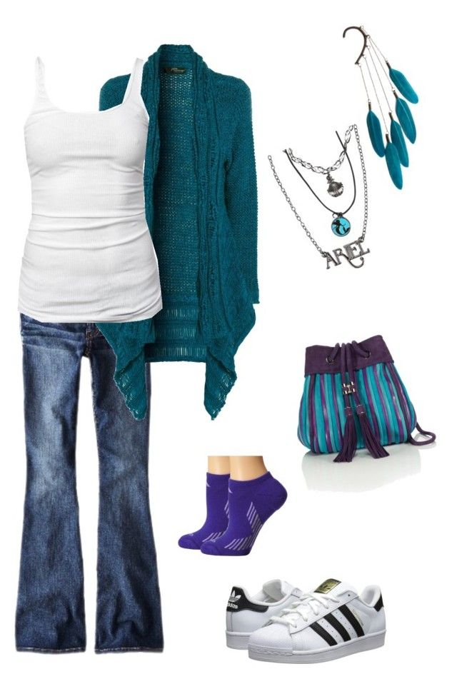 """Casual teal look"" by raptornsain on Polyvore featuring American Eagle Outfitters, Jane Norman, James Perse, Salvatore Ferragamo, Disney, Anni Jürgenson, adidas Originals and adidas"