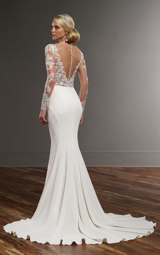 Deep V-Neck Backless Sheer Long Sleeves Mermaid Wedding Dress - Uniqistic.com