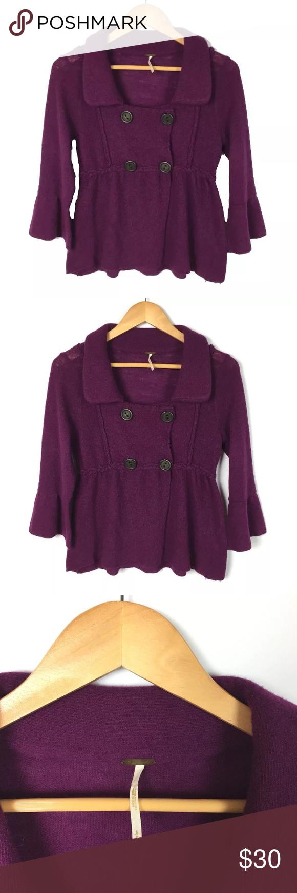 127e4995724 Free People Purple Wool Cardigan Sweater S Free People Cardigan Sweater -  Sz S Made of 100% lambswool in an eggplant purple color.