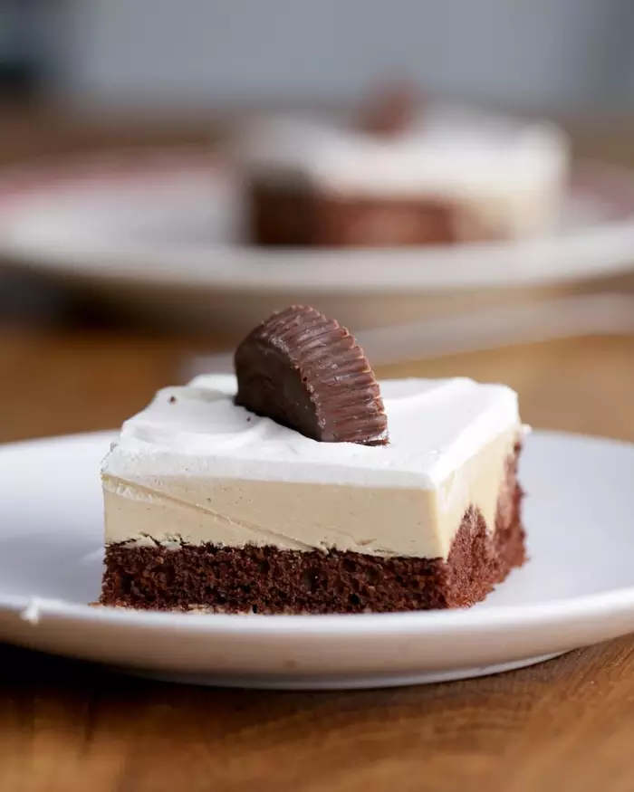 Chocolate-Peanut Butter Poke Cake #chocolatepeanutbutterpokecake