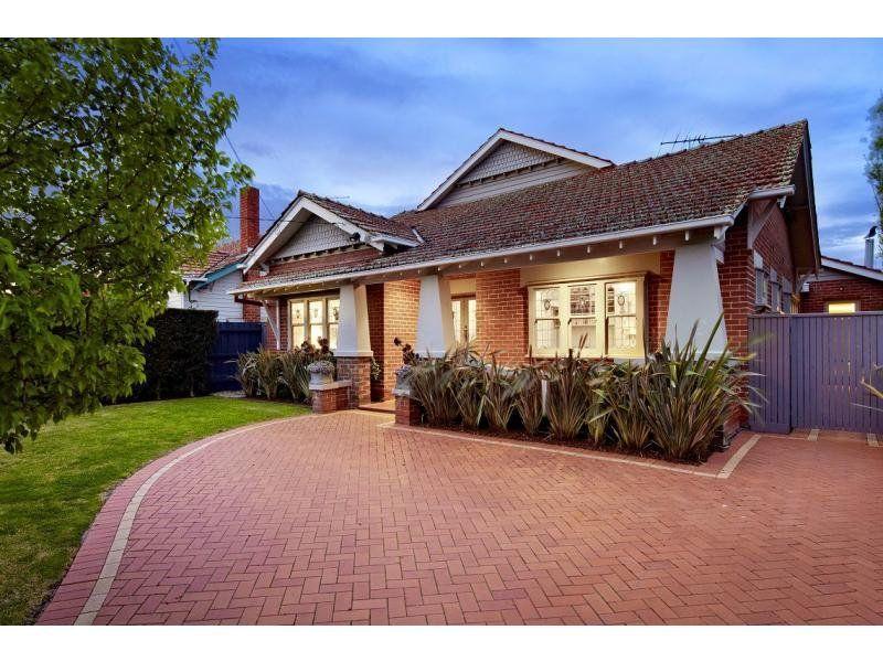 Brick Californian Bungalow House Exterior With Porch Landscaped Garden