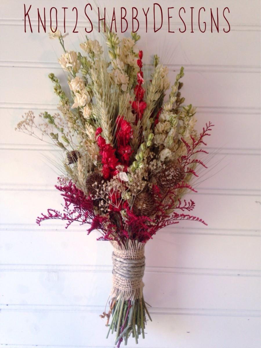 Wildflower bouquet - Wedding - Dried Bridal Party - Dried flowers ...