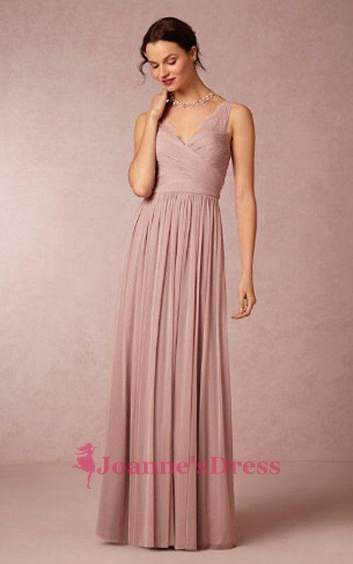 Column V Neck Chiffon Long Blush Pink Bridesmaid Dresses Uk Online