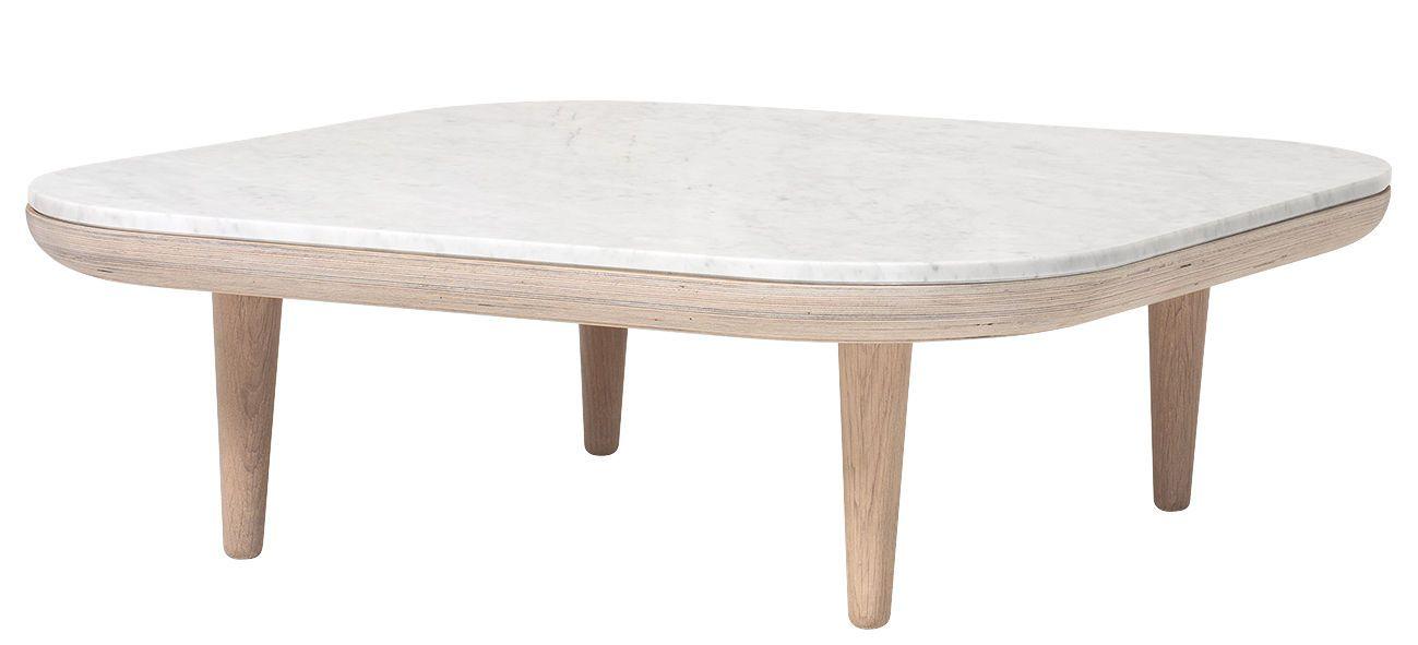 Table Basse Fly Marbre 80 X 80 Cm Chene Clair Marbre Blanc