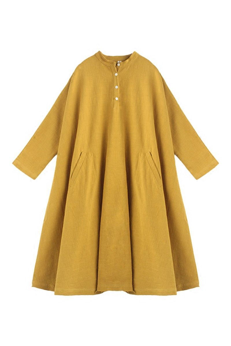 Yellow dress long sleeve  Spring Yellow Casual Cotton Linen Dresses Long Sleeve Shirt Dress