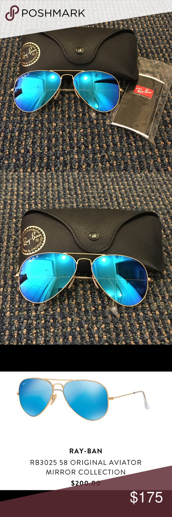 518c5e53910a Ray Ban RB3025 58 Original Aviator Gold Matte Blue Polarized Ray-Ban RB3025  58