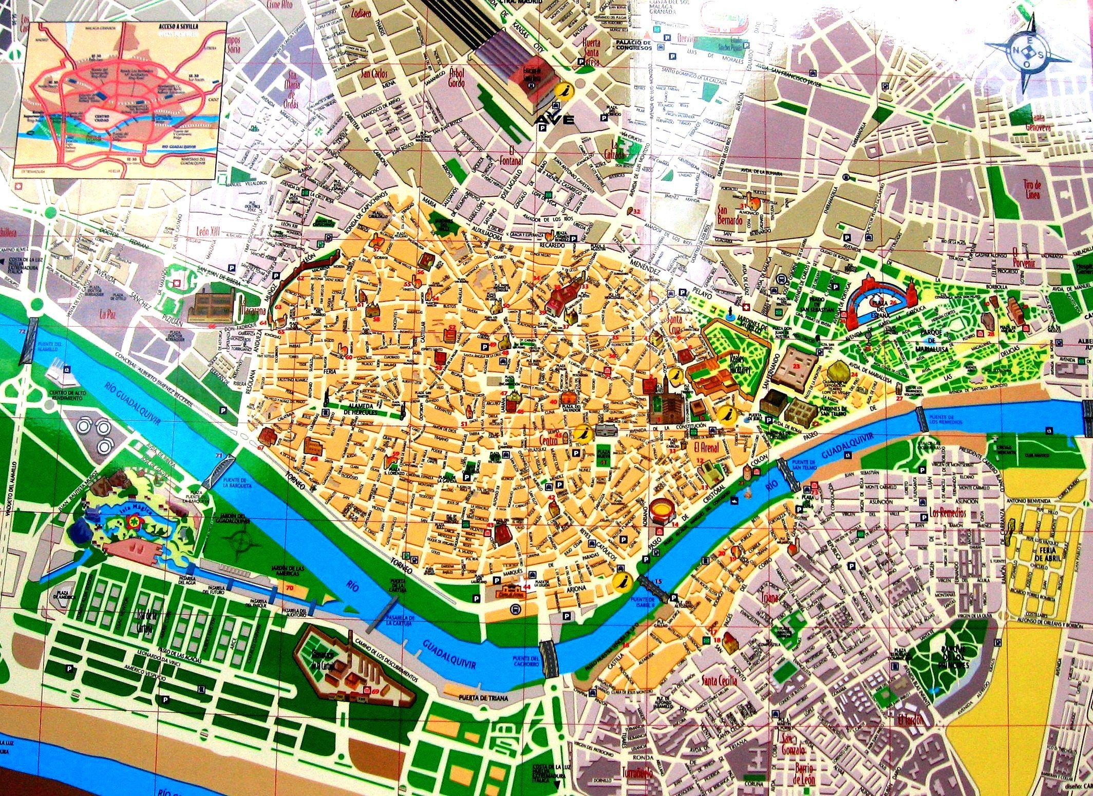 Streets map of Seville with town sights Spain Travel in Spain