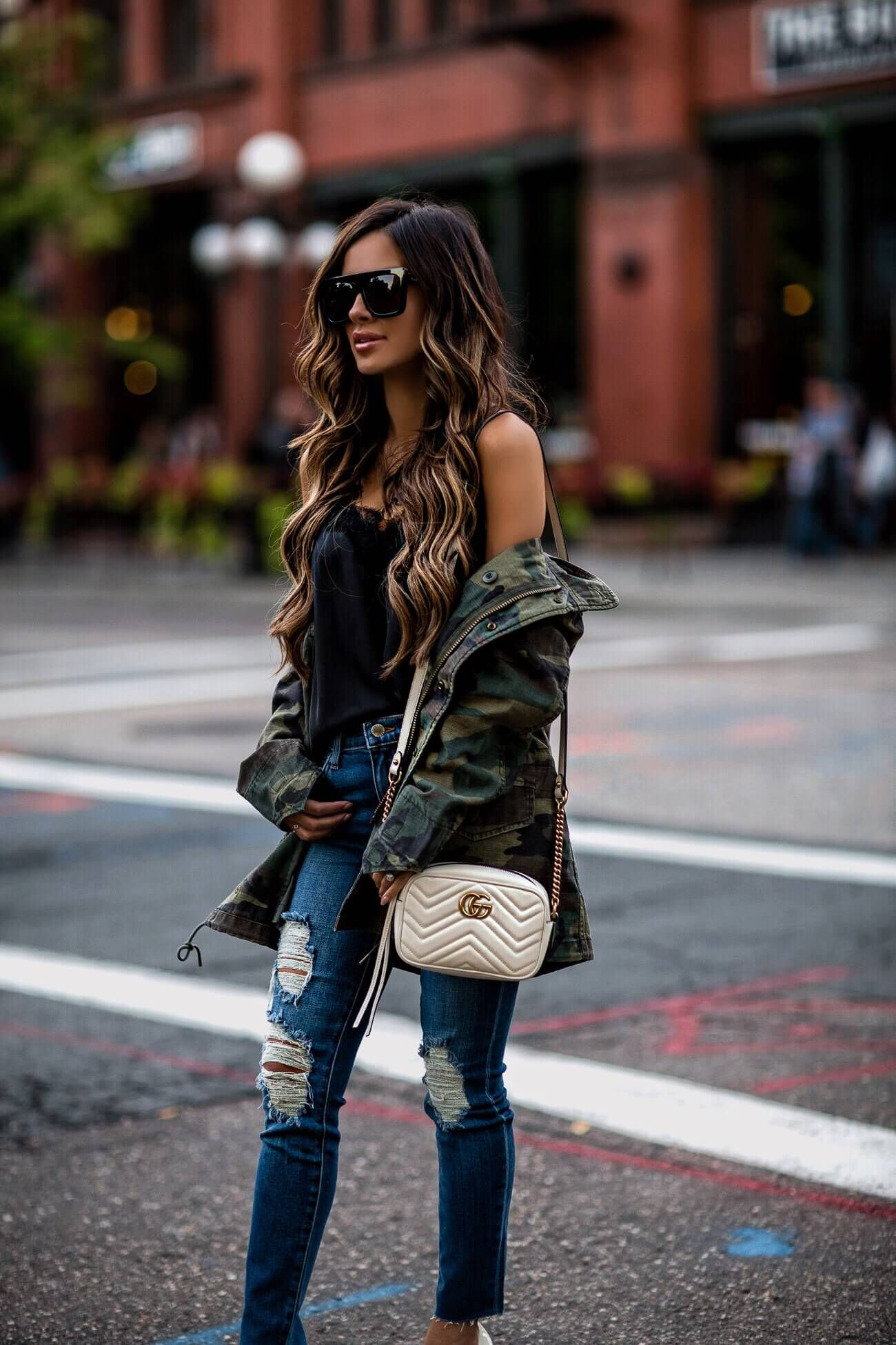 a3d54af09cfc mia mia mine wearing a camo jacket and a gucci marmont white bag ...