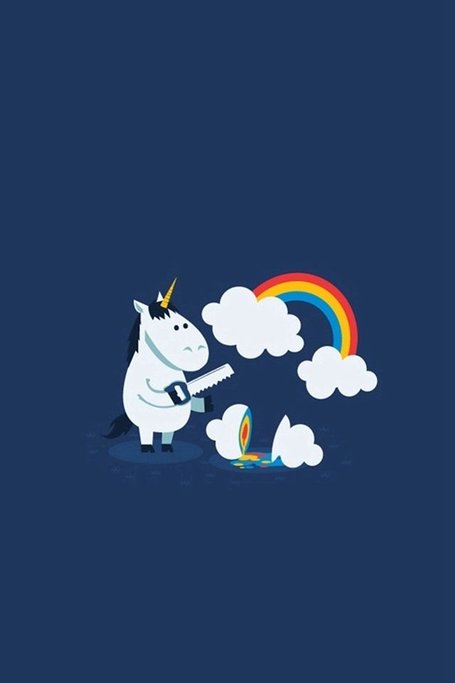 unicorn saw clouds rainbow funny iphone 4s wallpaper iphone 4 s