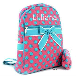 Poshy Kids - Personalized Kids Backpacks Blue and Pink Polka Dots ...