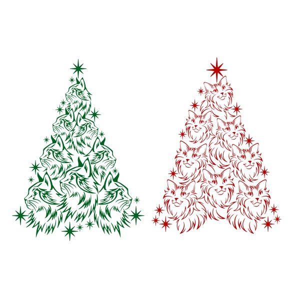 Cat Christmas Tree Svg Cuttable Design Christmas Tree Painting Christmas Tree Stencil Cat Christmas Tree