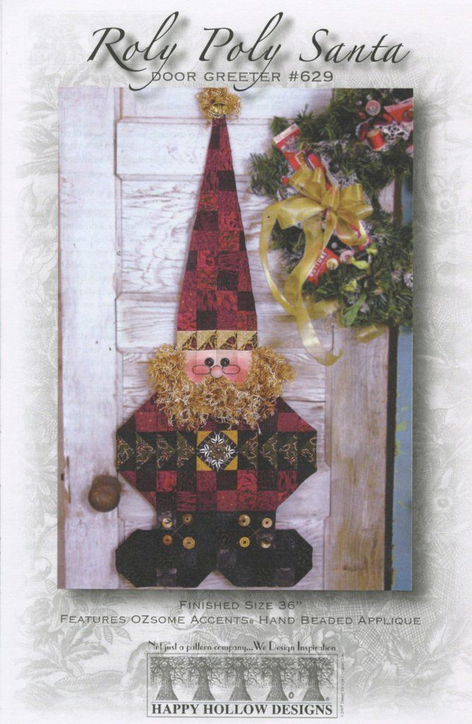 STICK SANTA JINGLE BELL GREETER QUILTING PATTERN From Happy Hollow Designs NEW