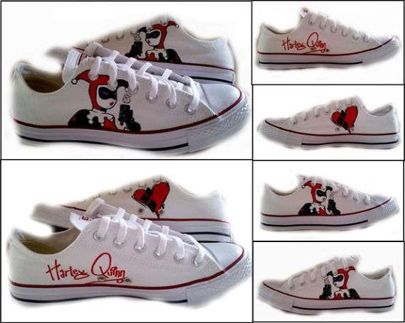 f695c50932a9 Harley Quinn, Converse Lo Tops, Womens Sneakers, Geek, Comics, White Shoes,  Custom Painted Shoes, Sc