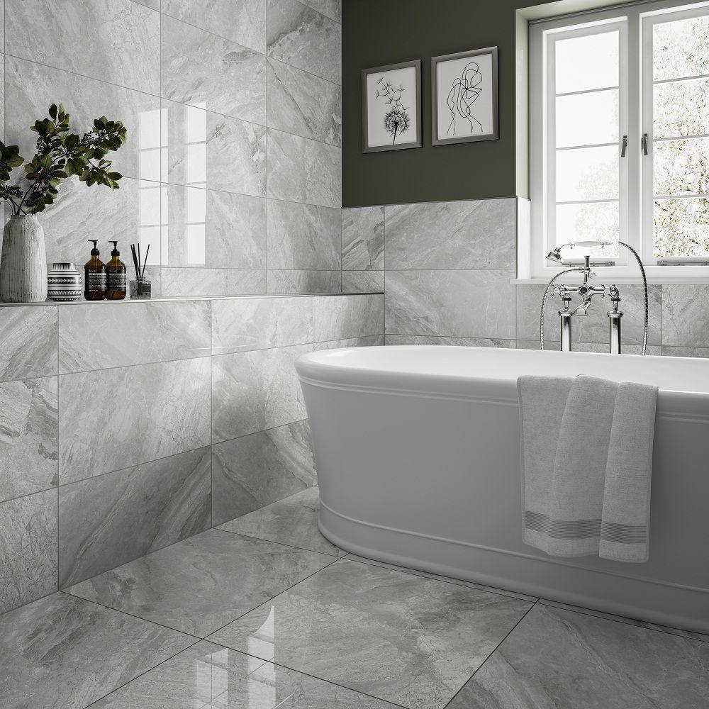 Supreme Silver Polished 300x600 Small Bathroom Tiles Bathroom