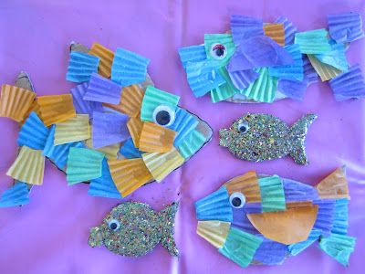 Make easy Cupcake Liner and Glitter Fish.