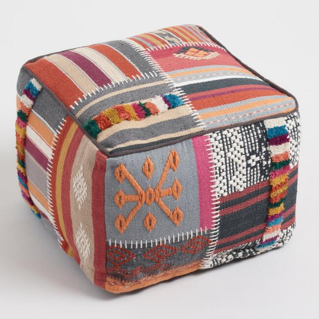 Multicolored Kilim Patchwork Indoor Outdoor Pouf Outdoor Pouf
