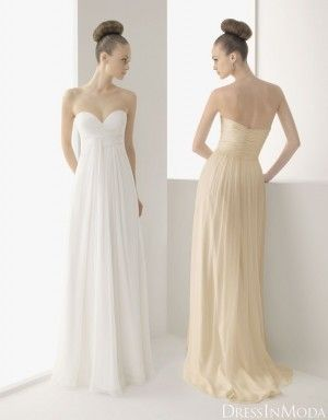 Helis Gracia Champagne/White Soft Strapless Sweetheart Empire ...