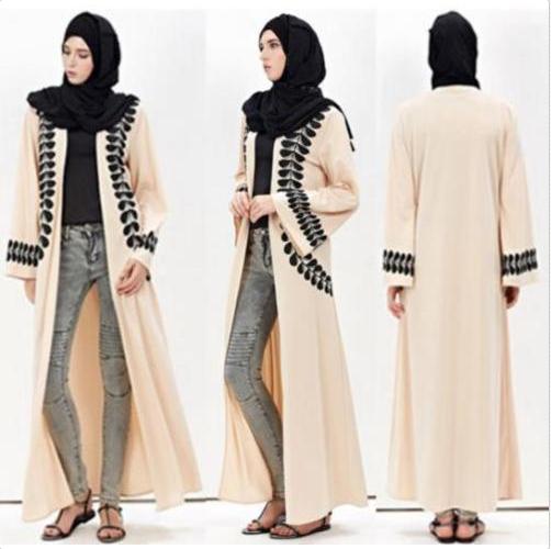 28e75df2588 Factory High-End Feather Printing Muslim Long Cardigan Dubai Kaftan Abaya  Kimono Open Abaya