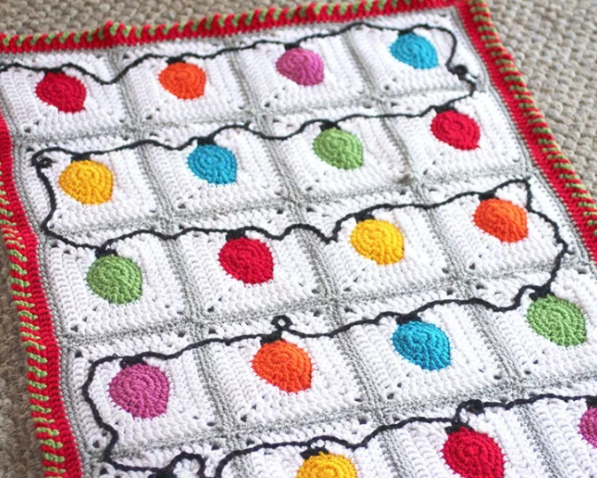 Crochet Christmas Lights Afghan Pattern | Mantas de bebes, Mantas de ...