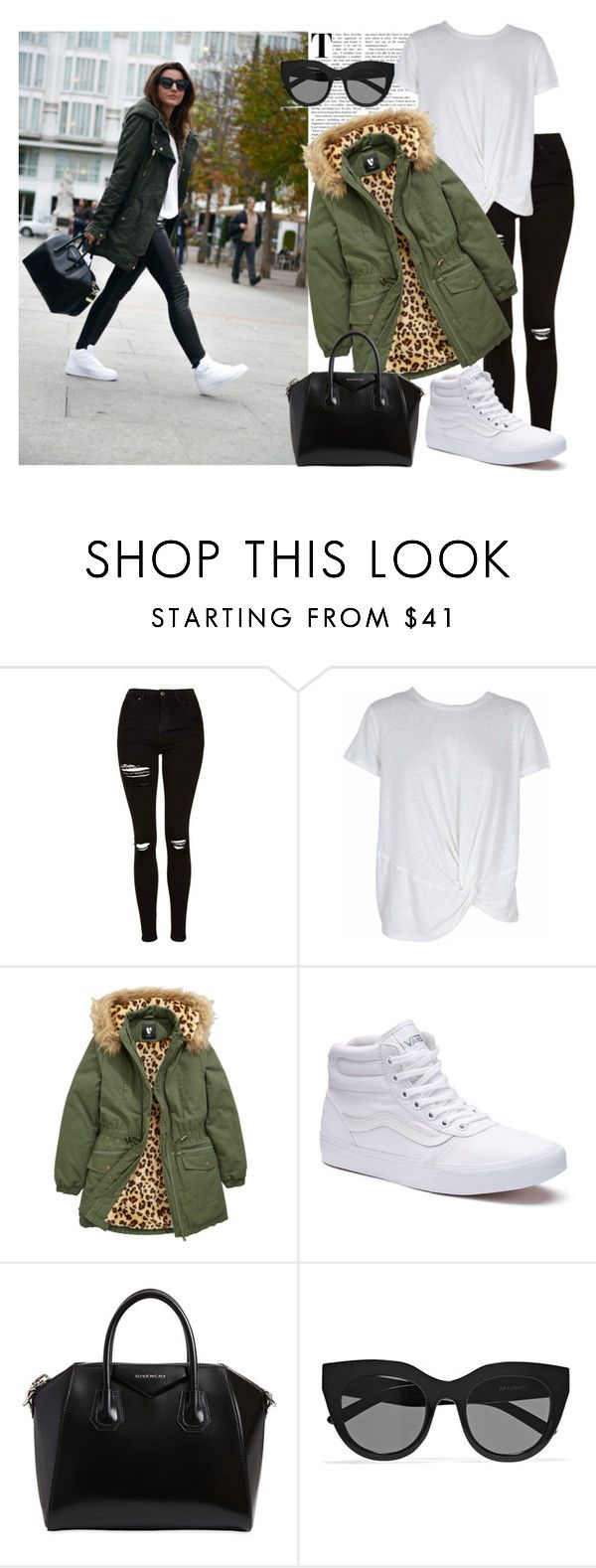 """""""Pretty Puffer Jacket"""" by burnettse ❤ liked on Polyvore featuring Topshop, MINKPINK, Vans, Givenchy and Le Specs"""