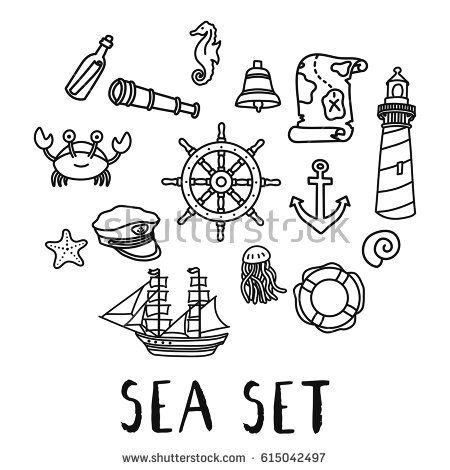 Hand Drawn Doodle Sea Set Vector Illustration Sea Life Captain Hat Marine Ship Lighthouse Sea Sta Dessins Sur Les Mains Bateau Pirate Dessin Silhouette De Cerf