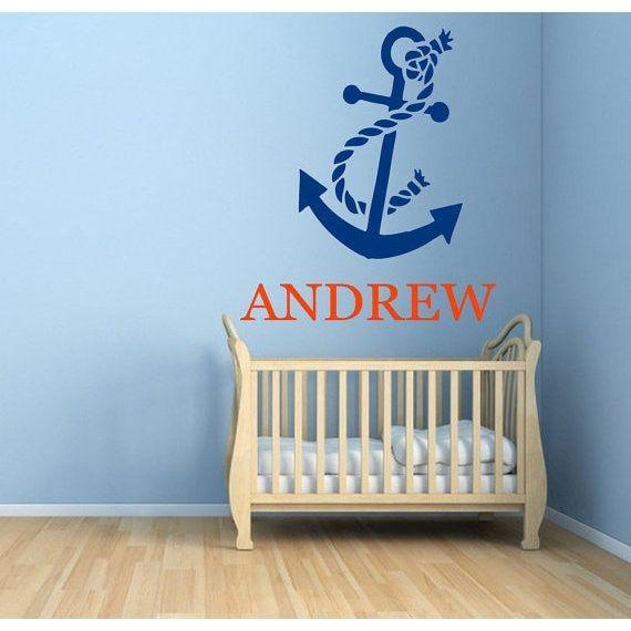 Anchor Vinyl Sticker Boy Personalized Name Decor Children Home Vinyl Art Nursery Room Decor Sticker Decal size 44x44 Color