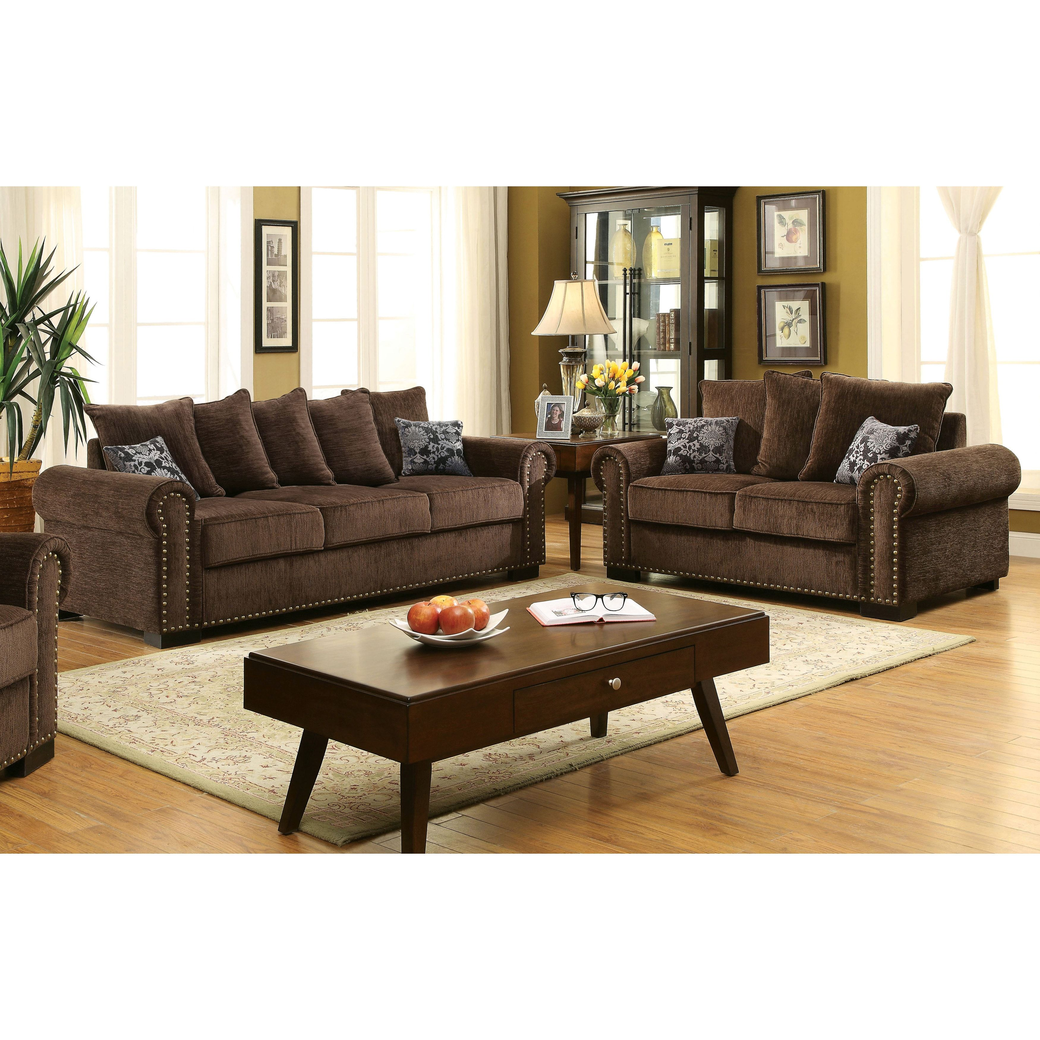 Furniture Of America Pana Transitional Brown Chenille 3 Piece Sofa