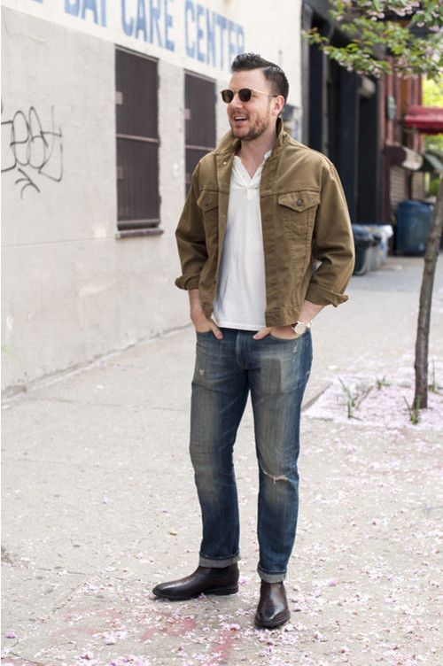 Men's Brown Leather Chelsea Boots Outfit Inspiration Lookbook ...