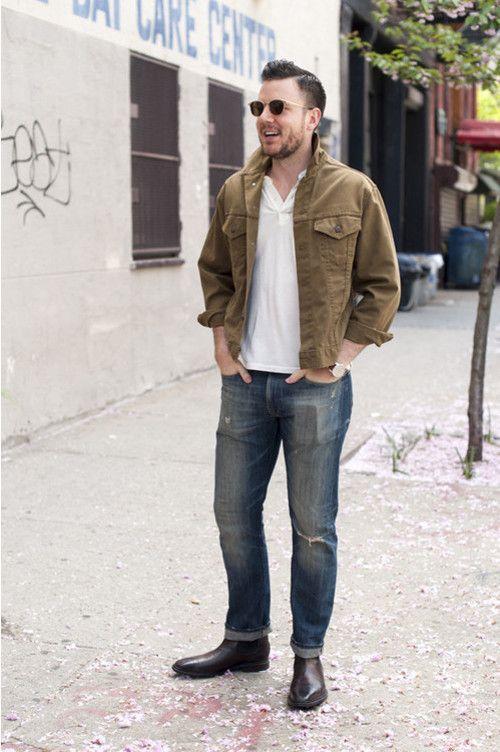 tenue polo blanc jean bleu bottines chelsea en cuir marron mode homme pinterest mode. Black Bedroom Furniture Sets. Home Design Ideas