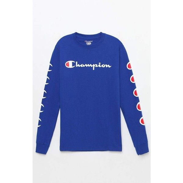 f262a50a Champion Repeat Long Sleeve T-Shirt at PacSun.com ($35) ❤ liked on Polyvore  featuring tops, t-shirts, blue t shirt, longsleeve t shirts, pacsun tees,  ...
