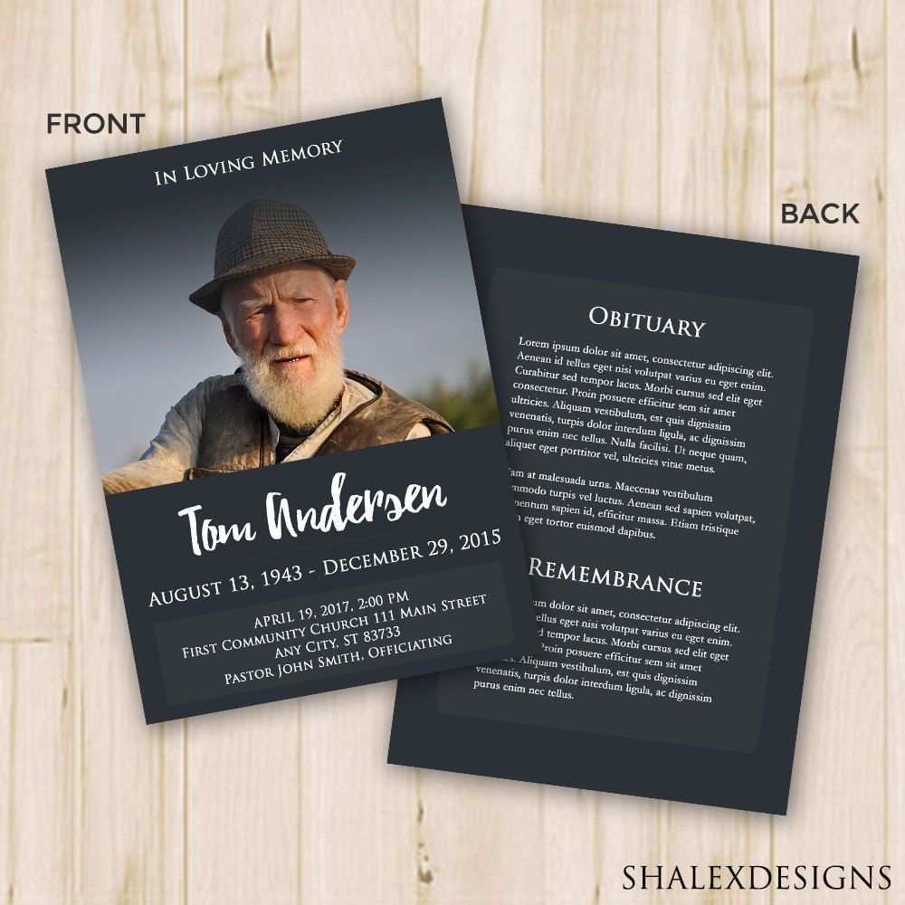 Funeral Program Template  Funeral Card  Photoshop Psd Instant