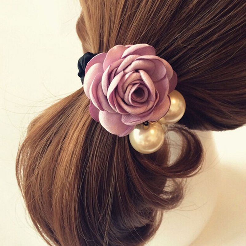 Fashion Girls Rose Flower Rope Hair Tie Band Pearl Head Ornaments Hair Accessory