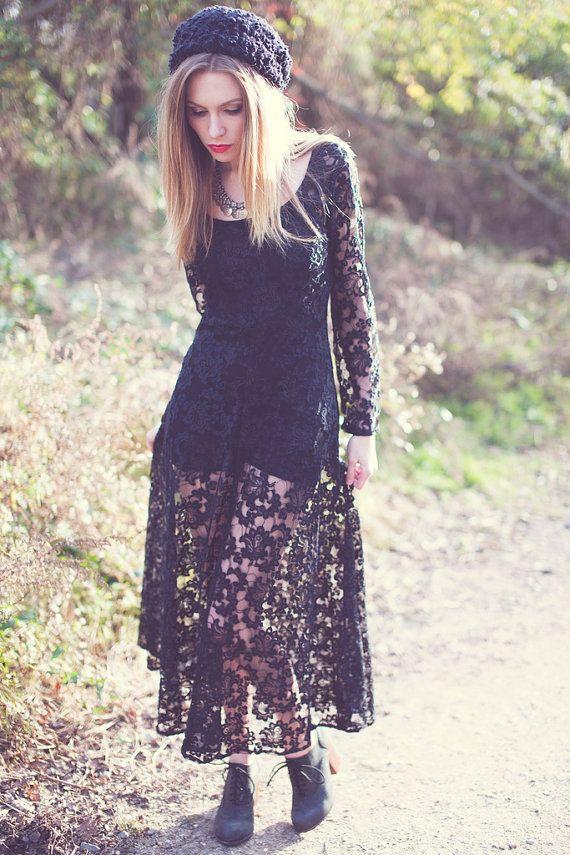 Vintage 80s Black LACE Maxi Dress by LotusvintageNY | Lotus Vintage ...