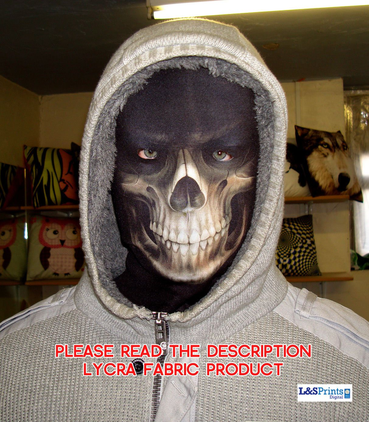 New Year Party Grim Reaper Fabric Full Face Mask Fancy Dress Halloween Party