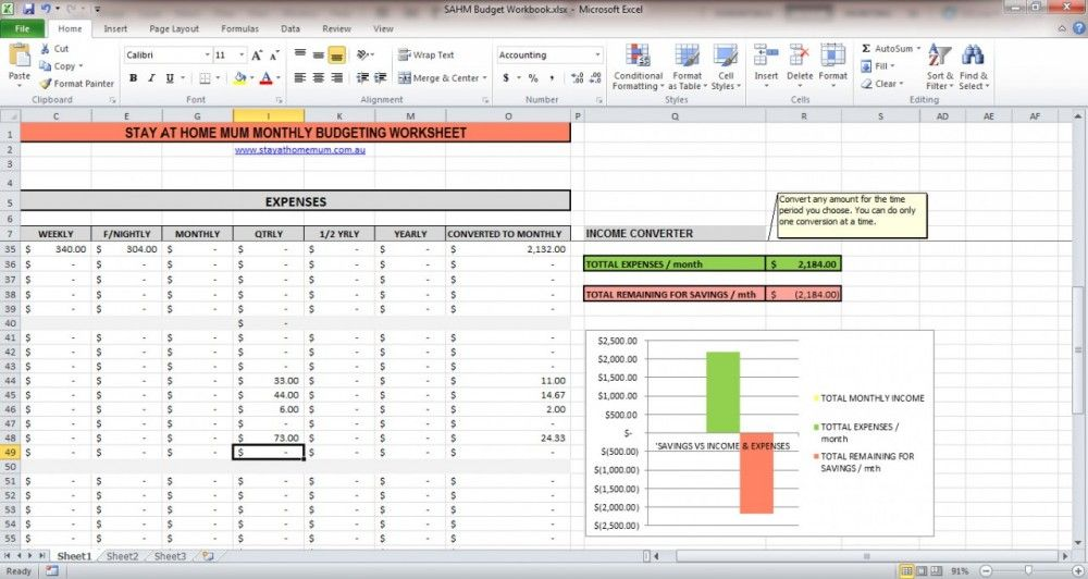 Stay at Home Mum Presents - The Simple Budgeting Spreadsheet My - spreadsheet