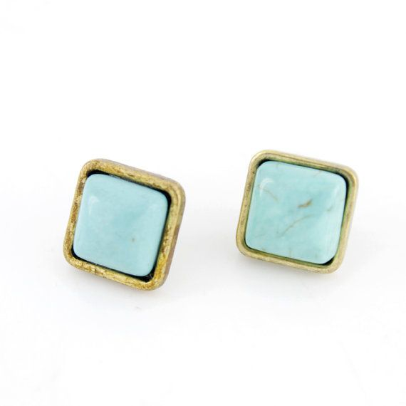 Simple Tiny Goldtone Square Turquoise Stone by JuliesJewelryStore, $3.99