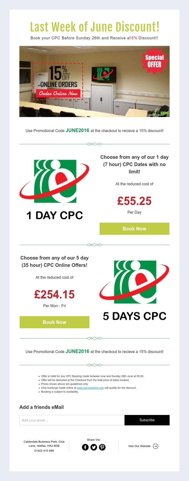 Last Week of June Discount!  Book your CPC Before Sunday 26th and Receive a 15% Discount!!