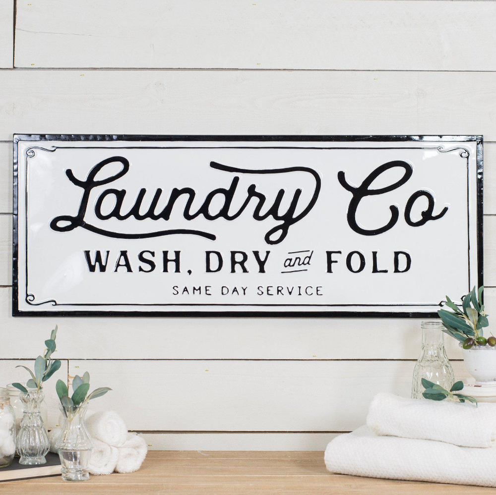 Embossed Metal Laundry Sign Laundry Signs Home Decor Home Decor Signs